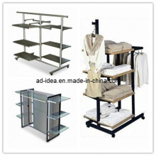 Garment Display Stand with 6 Glass Shelves (AD-130718)