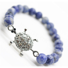 Sodalite Gemstone Bracelet with Diamante alloy tortoise Piece