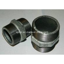 Conexões de tubulação de ferro maleável de mamilo galvanizado