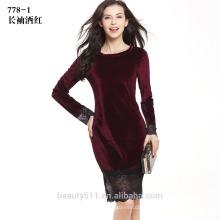 Девочка сексуальный длинным рукавом круглый шеи мини платье повязки СD14