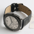 stainless steel watch square case men's genuine leather watch, japan Miyota movement watch