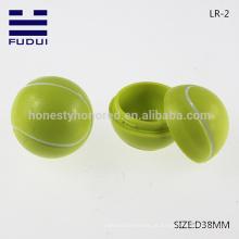 NOVO!! Atacado Promocionais 38 milímetros ABS bola de tênis minúsculo forma bálsamo labial contêiner