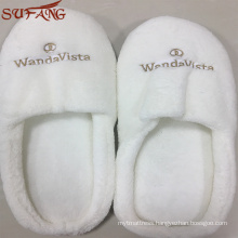 Men and women used two color home hotel indoor plush slipper with logo