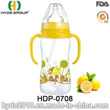 Botella de alimentación plástica libre de la leche del bebé de 2016 nuevamente BPA, botella de alimentación plástica modificada para requisitos particulares del bebé (HDP-0708)