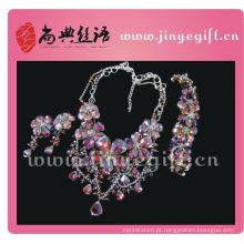 Design de moda encantador lindo brilhante roxo cristal diamante jóias conjuntos
