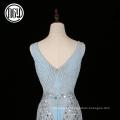 Novo criativo vestido de noite de festa de pérola das mulheres adultas sem mangas