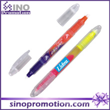 Double Headed Highlighter Marker Pen Plastic Transparent Highlighter