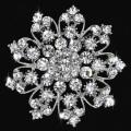 Clear glass Crystal Rhinestone brooches Bridesmaid Wedding Party big metal Flower Brooches