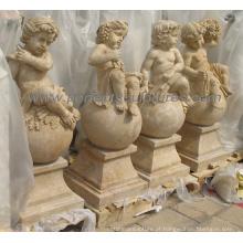 Pedra de mármore cinzelando a estátua do querubim da escultura do anjo (SY-X0157)