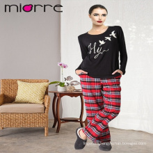 MIORRE OEM WOMEN'S NEW 2017 COLLECTION LONG SLEEVEE ELEGANT PRINTED BLACK TOP & PLAID PATTERNED BOTTOM SLEEPWEAR PAJAMAS SET