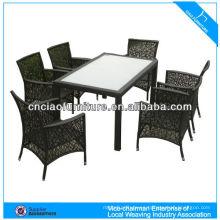 Mesa de comedor de jardín de producto verde con muebles al aire libre de ratán de silla
