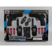 Plastic police set  walkie-talkie/double guns/watch/compass/telescope