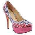 New West African Printed Fabrics Mode High Heel Schuhe (HCY02-1354)