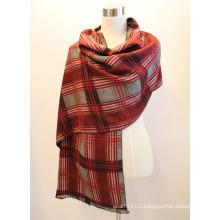 Lady Fashion Viscose Woven Jacquard Fringed Shawl (YKY4412-2)