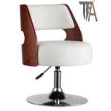 Blanco y rojo de color PU y asiento de madera con silla de barra de plata de cromo
