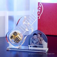 Nouveau Design - Crystal Glass Guitar Model avec cadre photo pour le mariage Souvenirs cadeau 2015