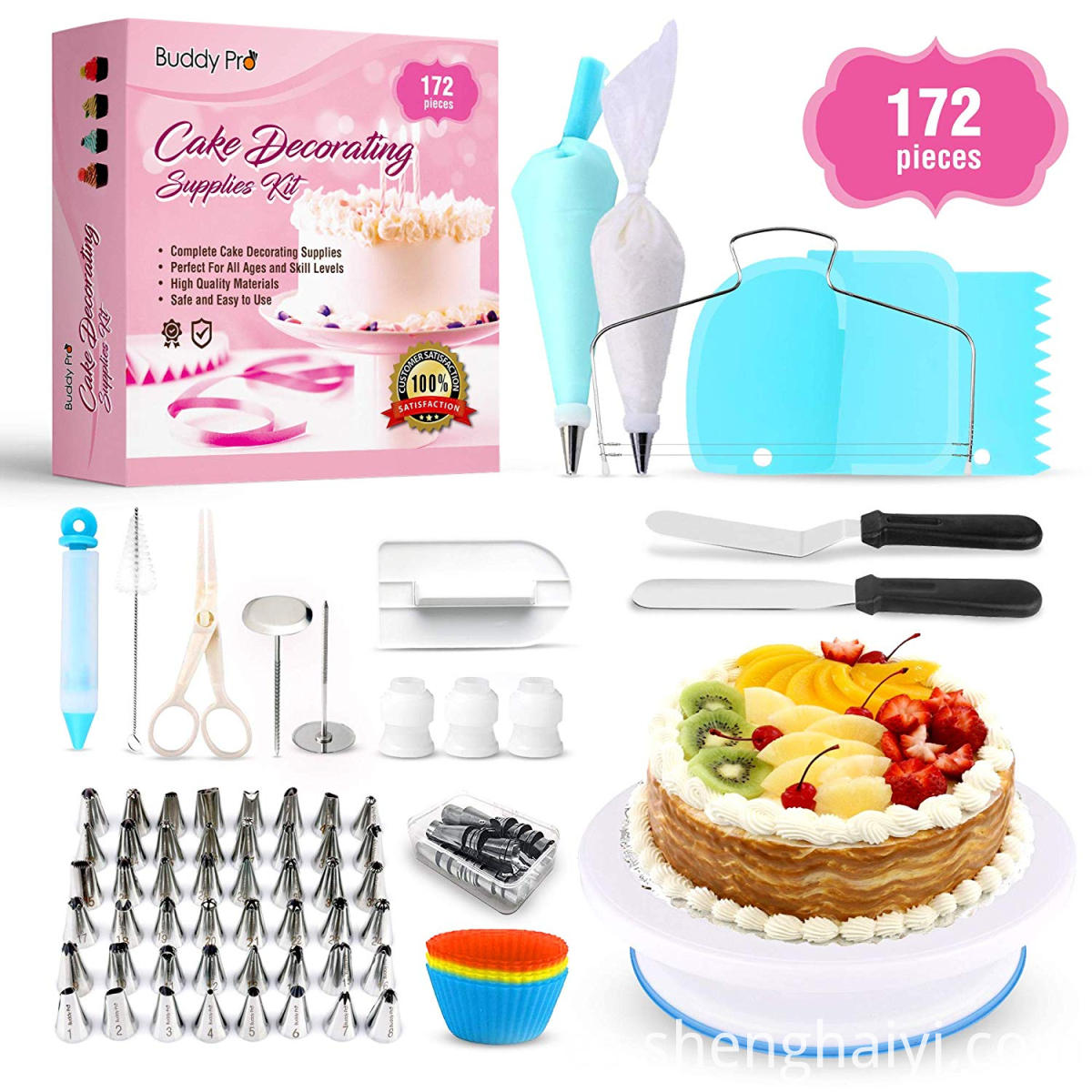 cake decorating set with cake turntable decorating tip kit