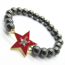 Hematite 8MM Round Beads Stretch Gemstone Bracelet con Diamante alloy star Piece