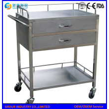 Stainless Steel Crooked Handle Medical/Hospital Trolley
