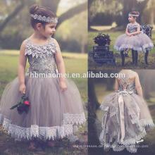 3-8 Jahre alte Tüll Puffy bestickt Mädchen Prinzessin Kleid für Geburtstagsfeier