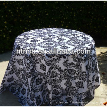 Tissu de table flockés taffetas fantaisie pour les mariages, mariage nappe de gros