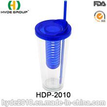 BPA vaso de infusor de fruta de plástico libre con paja