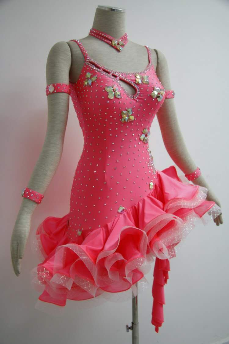Pink Latin Dancesport Costume For Women