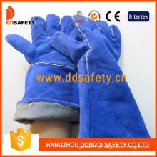 Luvas de segurança de luva de solda de couro de divisão azul Cow -Dlw617