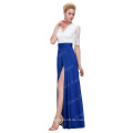 GK Sexy Occident Frauen Half Sleeve Lace Splicing High Split Lange Kleid CL009717-2