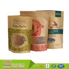 FDA Audit Factory Großhandel Hohe Barriere Zip Verschluss Braun Kraftpapierbeutel für Lebensmittel Verpackung