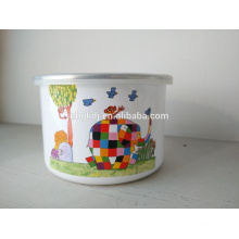 High enamel ice bowl cute Elephant decals Enamel Storage bowl