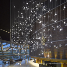 Оптовый современный индивидуальный размер украшения ресторана гостиницы большая светодиодная люстра