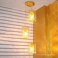 Loft luz americana retro lustre de cristal Criativo pequeno ferro frame vintage pingente de luz