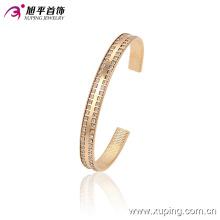 51382 Xuping brazalete de brazalete de acero inoxidable chapado en oro simple con muchas gemas pequeñas