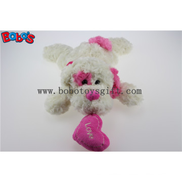 China Factory Made Plush White Lying Baby Dog Toy with Pink Ear and Heart Pillow Bos1191