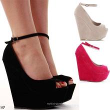 Zapatos de dama de cuña de tacón alto de moda clásica (H 62)