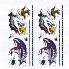 Etiquetas engomadas no tóxicas temporales del tatuaje de la serpiente de Eagle del alto grado 3D con diseño de gran alcance