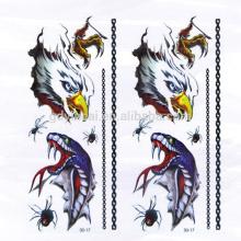 Alto grau 3D Eagle Snake Spider temporária não-tóxico tatuagem adesivos com design poderoso
