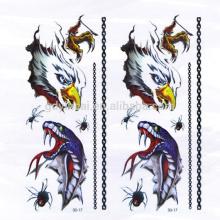 Высокий класс 3D Орел Паук Змея временной не-токсичных татуировки наклейки с мощным дизайном