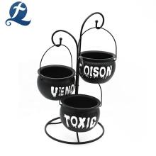 Tazón de comida de cerámica de mesa redonda negra de alta calidad