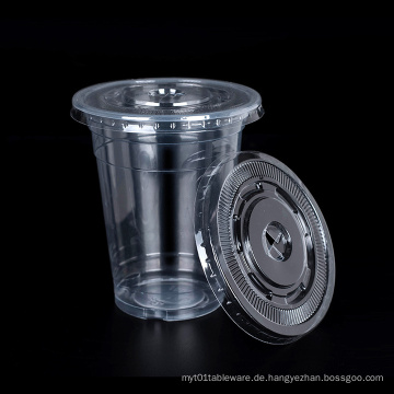Hohe Clear PP Cups mit flachen Deckel