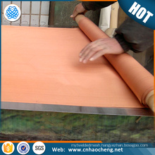 Faraday cage shielding red copper wire metal mesh/ emi shielding fabric copper mesh