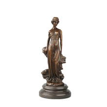 Female Figure Bronze Sculpture Young Lady Decoration Brass Statue TPE-655