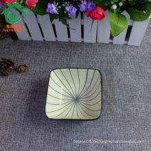 Keramik-Streifen Porzellan Snack-Schüssel, Snack-Gericht, Chip-und Dip-Schüssel
