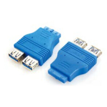 2 Port USB 3.0 a Female to 20 Pin IDE Adapter