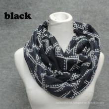 Nueva llegada womoen calidad alta impresión suave círculo bucle cobarde llano teñido plaid infinito bufanda