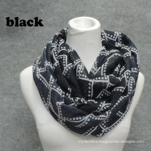 New arrival womoen quality high soft print circle loop funky plain dyed plaid infinity scarf