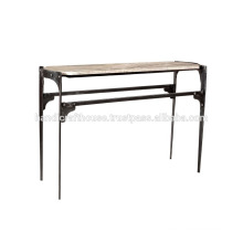 Industrial Vintage White Marble and Metal Console Table