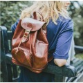A Classic Leather Backpack With Drawstring Opening