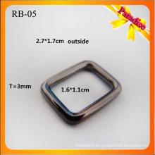 RB05 Correa de metal personalizada hebilla cuadrada anillo de metal y hebilla plana bolsa